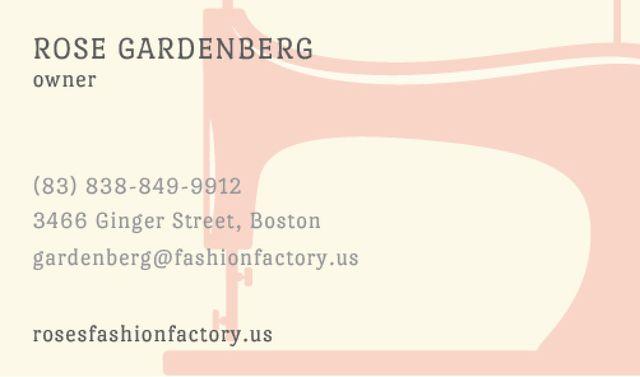 Ontwerpsjabloon van Business card van Sewing machine silhouette