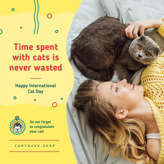 Cat Day Offer Owner Cuddling Grey Hat Instagram AD Modelo de Design