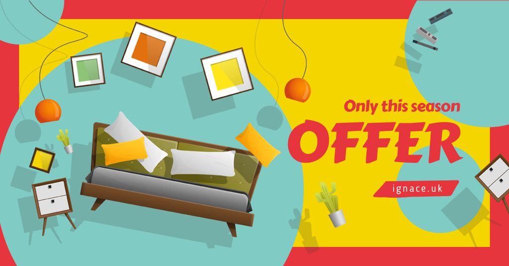 Modèle de visuel Cozy interior in bright colors - Facebook AD