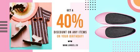 Ontwerpsjabloon van Facebook cover van Birthday Discount Female Clothes Flat Lay