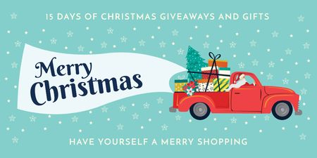 Template di design Christmas Offer with Santa Delivering Gifts Twitter