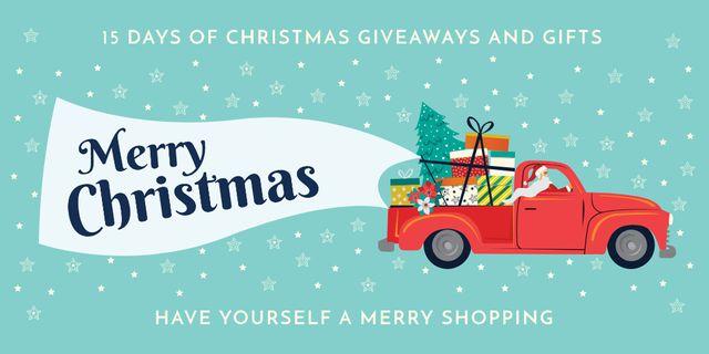 Christmas Offer with Santa Delivering Gifts Twitter Tasarım Şablonu