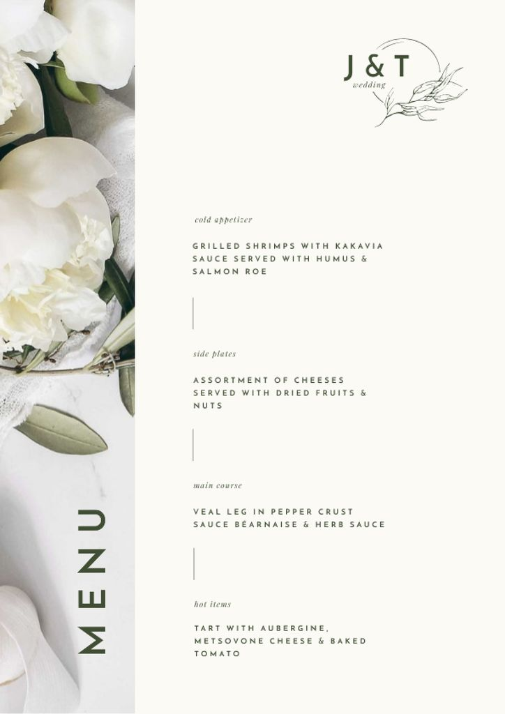 Food Dishes Offer with Tender White Peonies Menu Modelo de Design