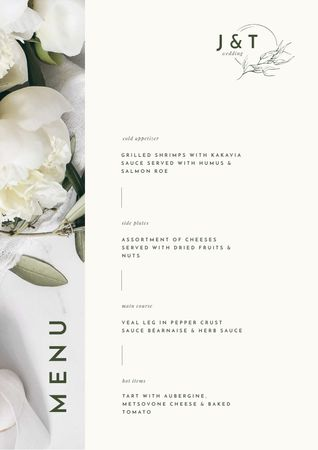 Food Dishes Offer with Tender White Peonies Menu Tasarım Şablonu