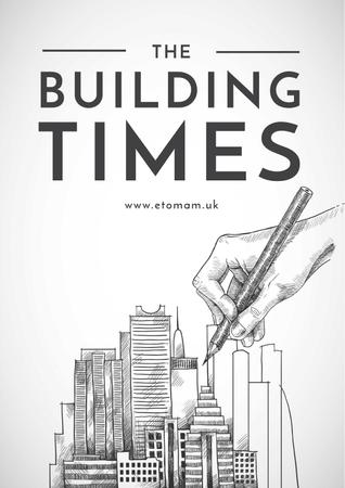 Drawing Buildings illustration Poster Modelo de Design