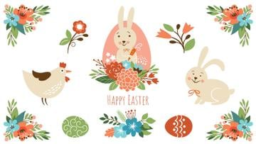 Easter Greeting Bunny with Chicken and Flowers | Full Hd Video Template
