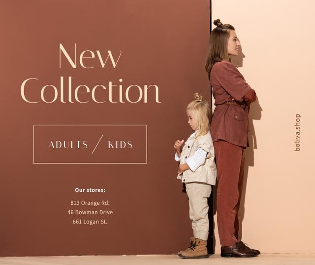 Fashion store Ad Mother with Daughter in Stylish Outfits Facebook Modelo de Design