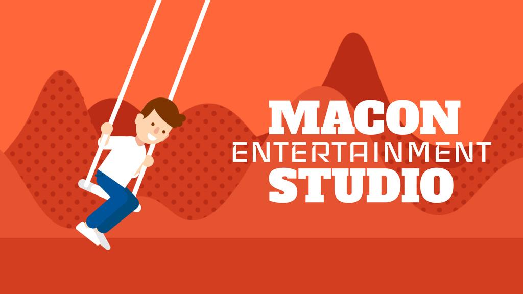 Kids Entertainment Happy Boy on a Swing in Red — Crea un design