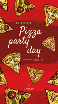 Pizza Party Day Ad with pieces of pizzas