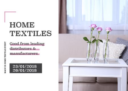 Ontwerpsjabloon van Postcard van Home textiles event announcement roses in Interior