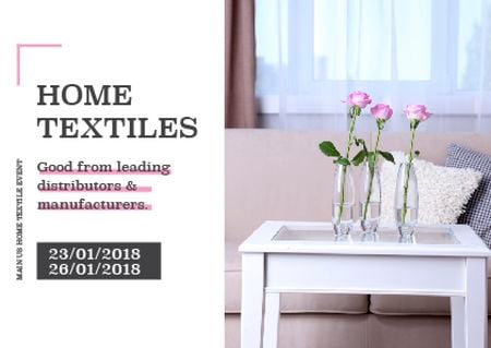 Home textiles event announcement roses in Interior Postcard – шаблон для дизайна