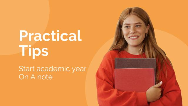 Studying practical tips with smiling Girl Youtube Thumbnail Modelo de Design
