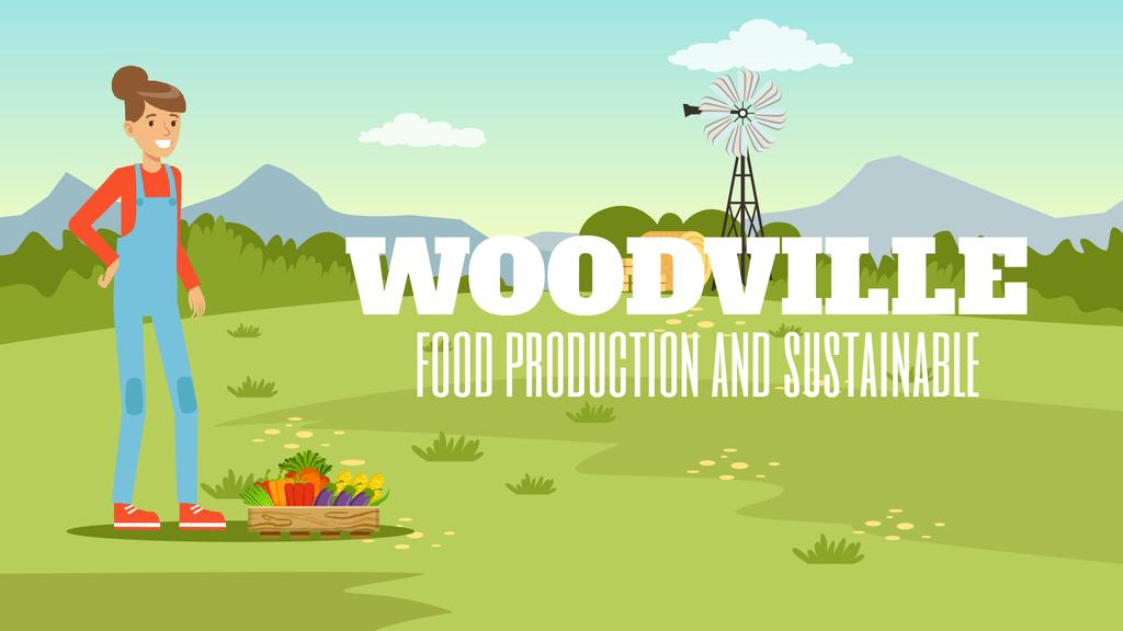 Farm Food Farmer with Vegetables Harvest — Crea un design