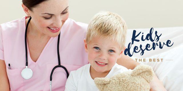 Pediatrician Examining Child in Clinic Image Design Template