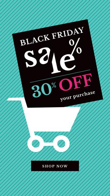 Black Friday Sale Shopping cart Instagram Story Design Template