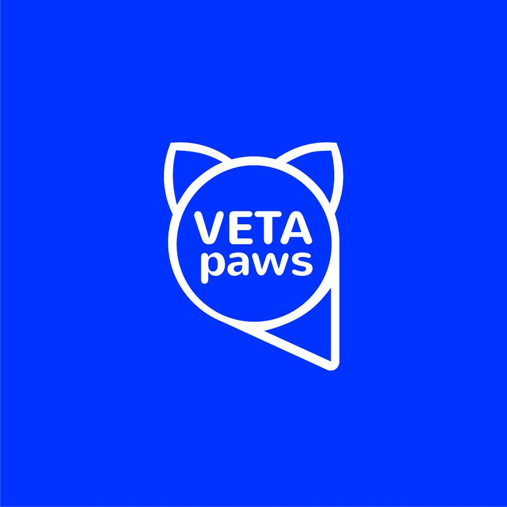 Vet Clinic Pet with Head Silhouette in Blue — Crear un diseño