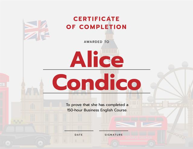 Modèle de visuel Language School Online courses Completion confirmation - Certificate