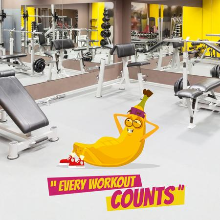 Banana training in Gym Animated Post Design Template