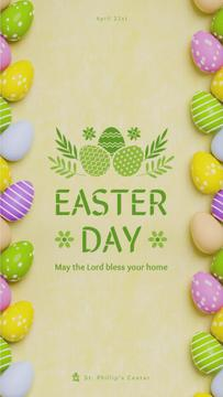 Easter Greeting Colored Eggs Frame | Vertical Video Template