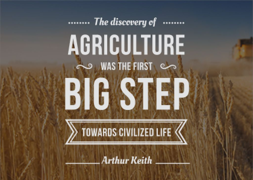 agricultural quote with field of wheat — Create a Design