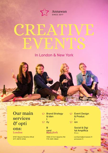 Plantilla de diseño de Creative Event Invitation People with Champagne Glasses Poster