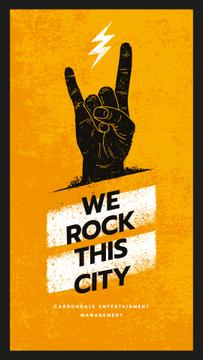 Festival Invitation Hand Showing Rock Sign