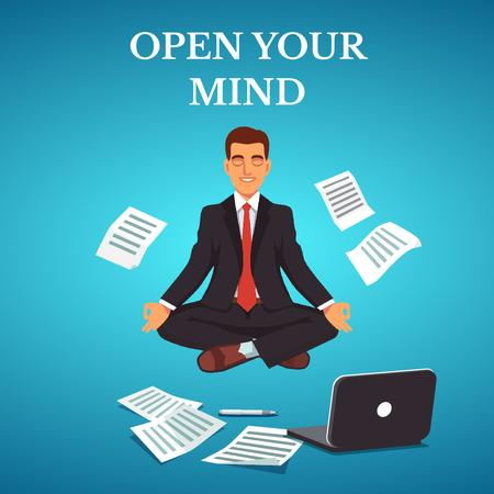 Template di design Businessman Meditating at Work in Blue Animated Post