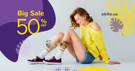 Fashion Ad with Happy Young Girl in Yellow Facebook AD – шаблон для дизайна