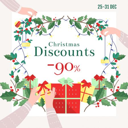 New Year Sale Gifts and Holly Wreath Instagramデザインテンプレート