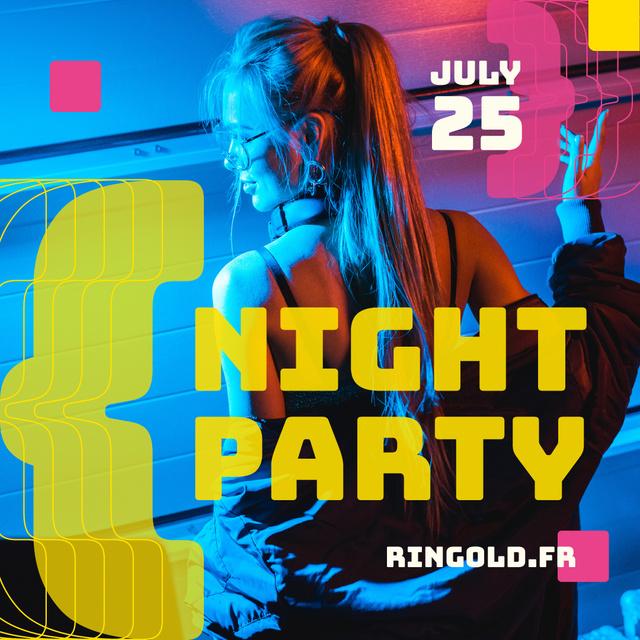 Night Party Invitation Girl in Neon Light Instagramデザインテンプレート