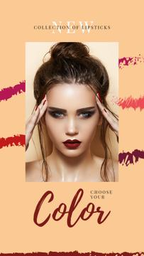 Collection of lipsticks with attractive woman with bright makeup