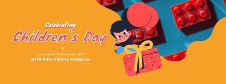 Happy kid with gift on Children's Day Facebook Video cover Design Template
