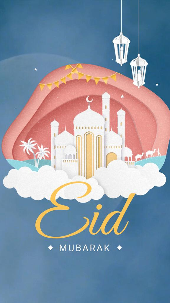Eid Mubarak White Mosque over Clouds – Stwórz projekt