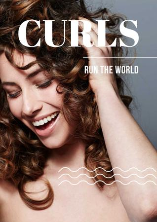 Curls Care Tips with Woman with Shiny Hair Poster Tasarım Şablonu