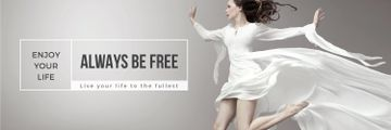 Inspiration Quote Woman Dancer Jumping | Twitter Header Template