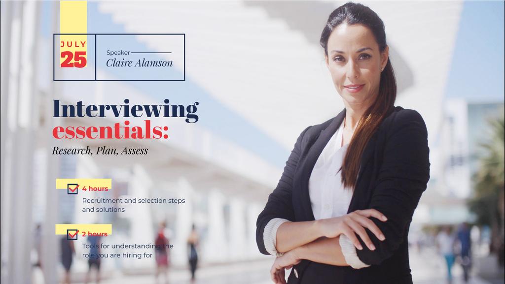 Business Event Announcement Confident Woman in Suit — Crear un diseño