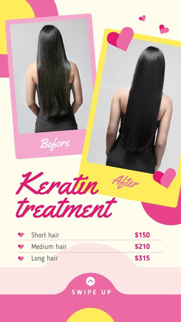 Female hair before and after treatment — Crea un design