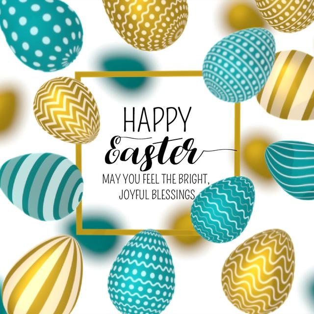 Easter Greeting with rotating colorful Eggs Animated Post Modelo de Design
