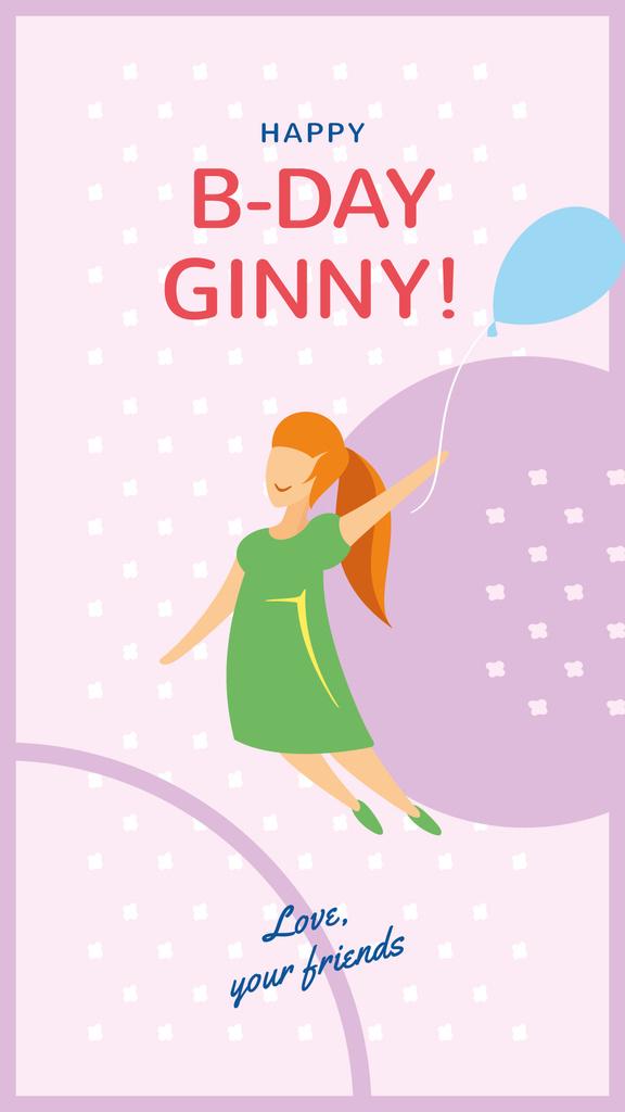 Girl flying on Birthday balloon — ein Design erstellen