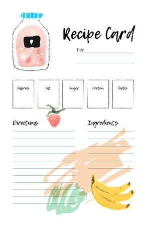 Fruit Juice with Banana and Strawberry Recipe Card Modelo de Design