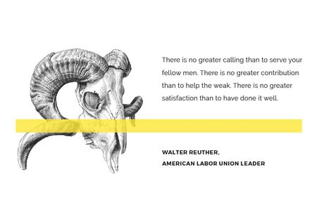 Volunteer Work Quote with animal Skull Postcard Modelo de Design