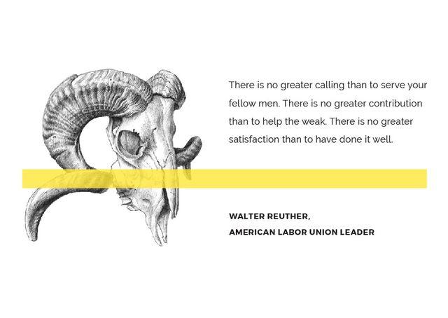 Volunteer Work Quote with animal Skull Postcard Modelo de Design