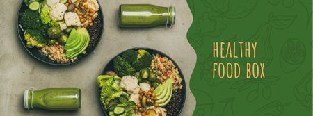 Healthy Food Offer with Vegetable Bowls Facebook cover Tasarım Şablonu