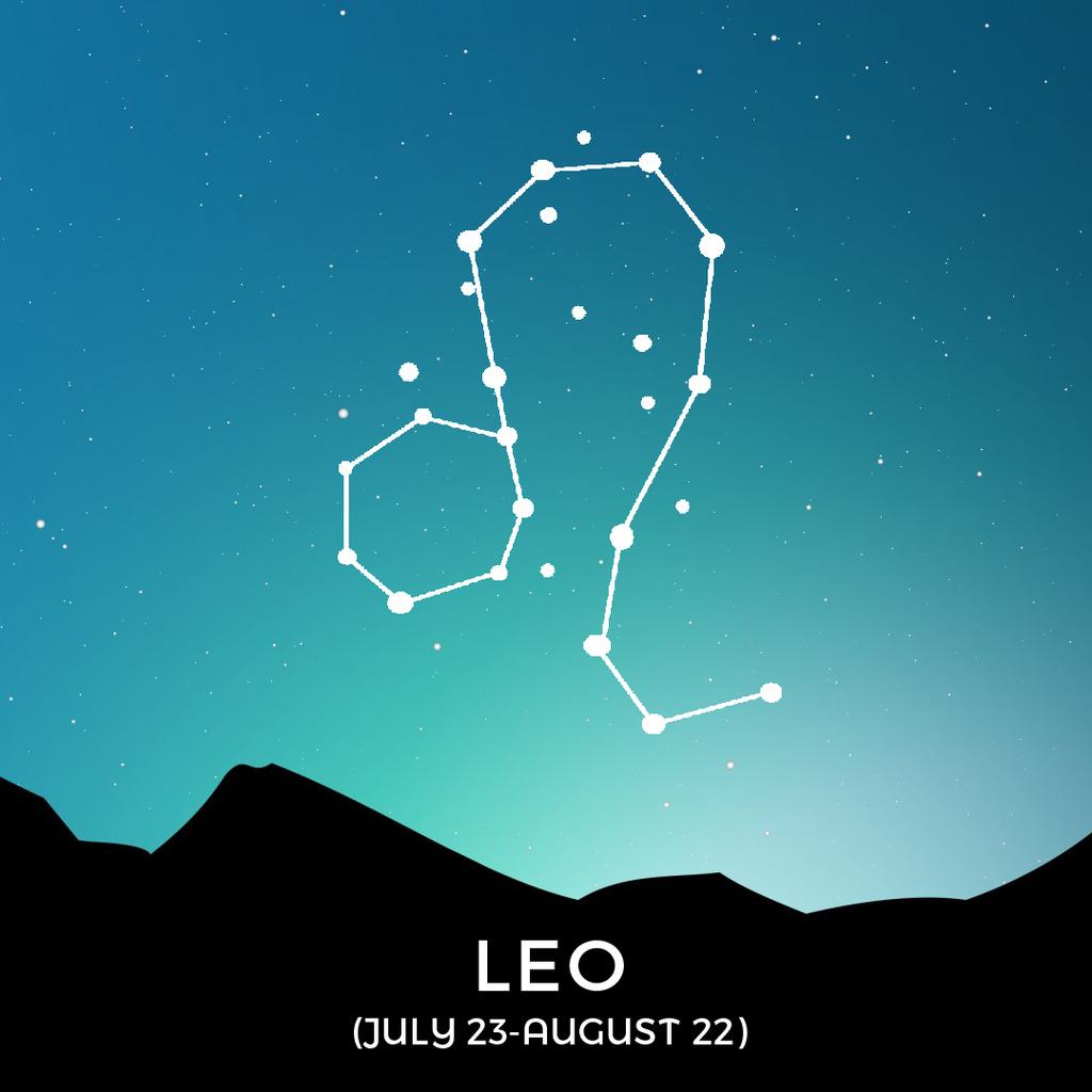 Night Sky with Leo Constellation — Maak een ontwerp