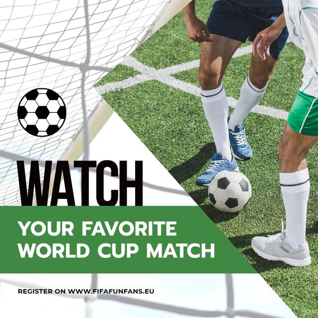 Plantilla de diseño de Soccer Match Announcement with Players on Field Animated Post