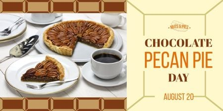 Chocolate Pecan Pie Day Offer Sweet Cake and Coffee Image – шаблон для дизайна