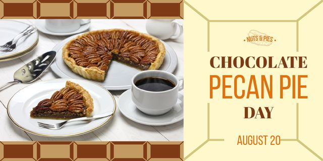 Plantilla de diseño de Chocolate Pecan Pie Day Offer Sweet Cake and Coffee Image