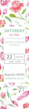 Eco Event Announcement Watercolor Flowers Pattern