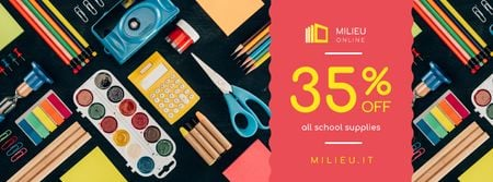 School Supplies Sale Colorful Stationery Facebook cover Design Template