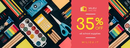 School Supplies Sale Colorful Stationery Facebook cover – шаблон для дизайна